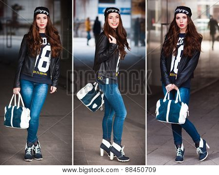The Stylish City Girl  Shows A Fashionable Look