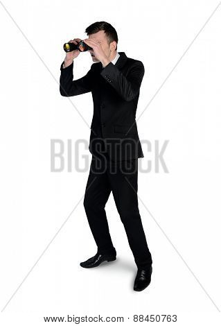 Isolated business man with binoculars