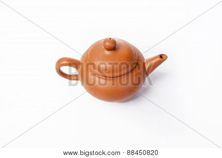 Chinese Teapot For Tea On A White Background