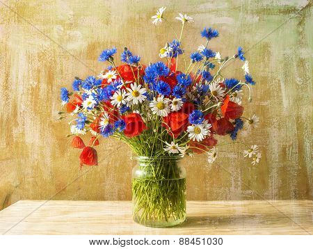 Still Life Bouquet Colorful Wild Flowers