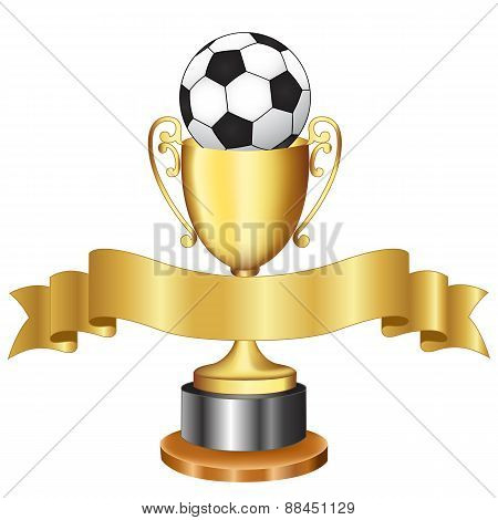 Soccer Championship Trophy And Ribbon
