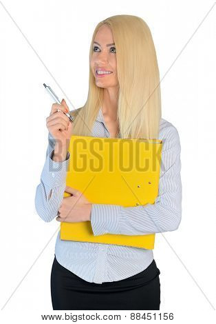 Isolated business woman pointing side