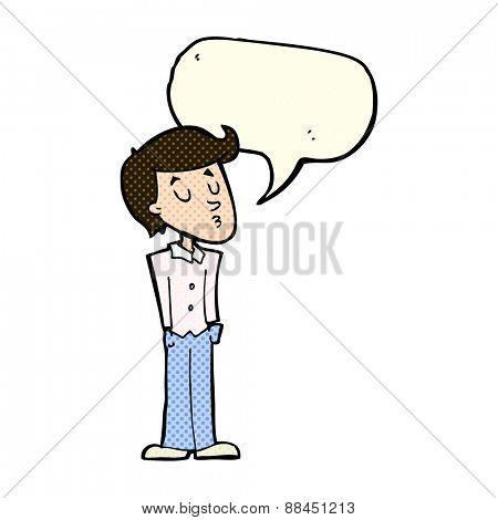 cartoon calm man with speech bubble
