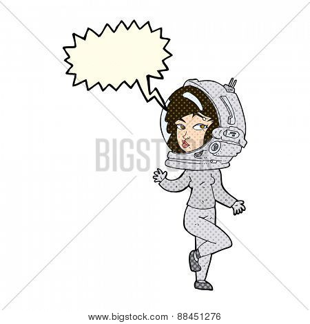 cartoon woman wearing space helmet with speech bubble