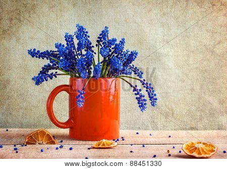 Still Life Bouquet Spring Flowers Blue