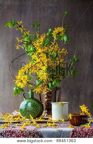Still Life Bouquet Yellow Forsythia Spring