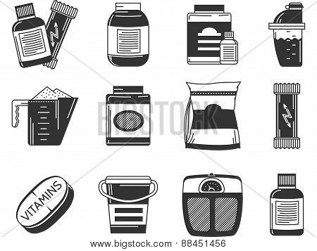 Black icons vector collection of sports nutrition