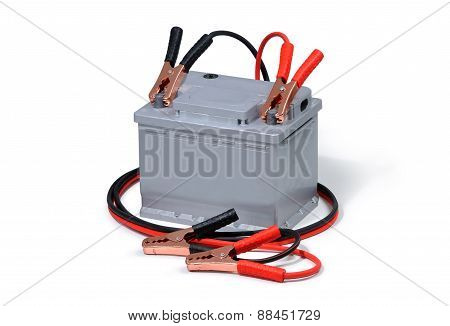 Car Battery And Jumper Cables Isolated On White Background