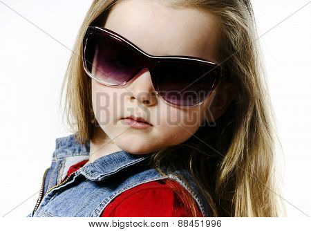 Cute Little Girl Posing In Mother's Sunglasses, Childhood Concept