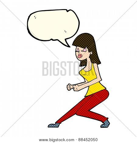 cartoon crazy dancing girl with speech bubble