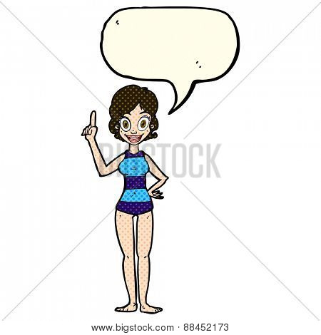 cartoon woman in striped swimsuit with speech bubble