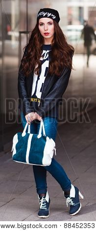 The Stylish Girl With Blue Bag