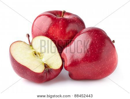 Red apples in closeup