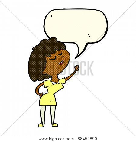 cartoon happy woman about to speak with speech bubble