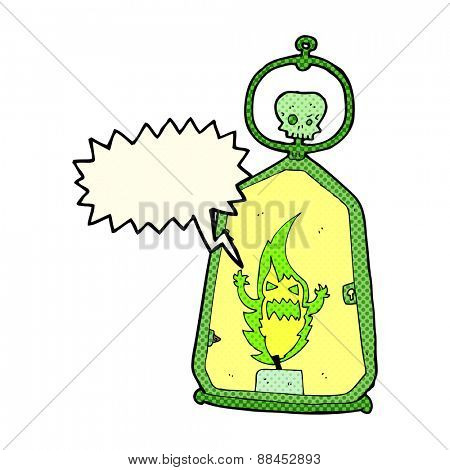 cartoon spooky lantern with speech bubble