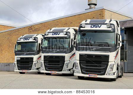 Three DSV Volvo FH Truck Tractors