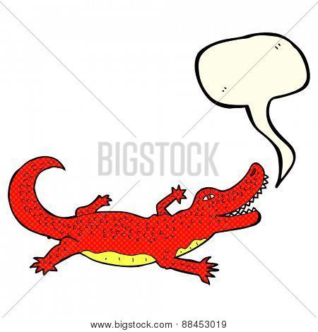 cartoon crocodile with speech bubble