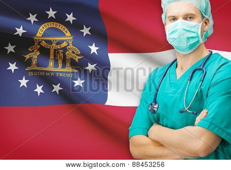 Surgeon With Us State Flag On Background Series - Georgia