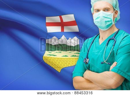 Surgeon With Canadian Privinces Flag On Background Series - Alberta