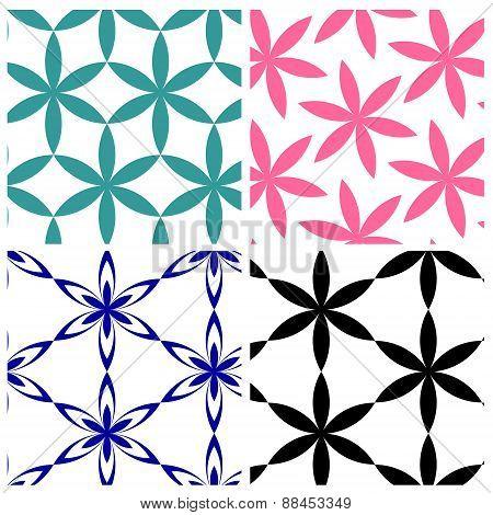 geometric six petals flowers pattern
