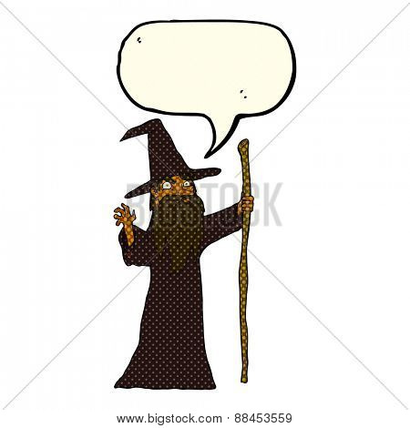 cartoon spooky wizard with speech bubble