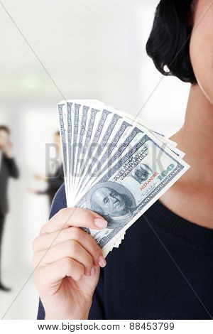 Caucasian woman with us dollar money.
