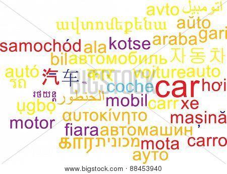 Background concept wordcloud multilanguage international many language illustration, translation: car vehicle