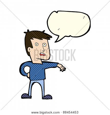 cartoon man making camp gesture with speech bubble