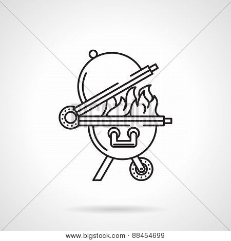 Black line vector icon for barbecue