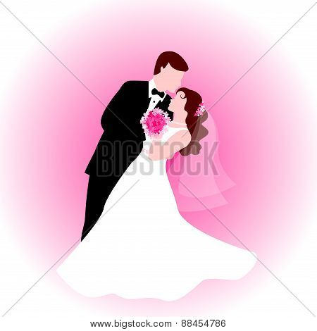 Dancing Wedding Couple In Pink Background