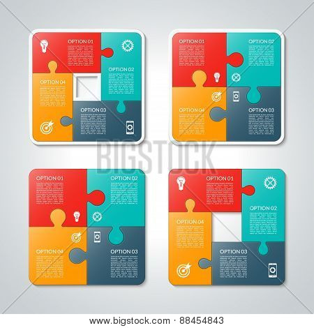 Set of vector square puzzle business infographic templates.