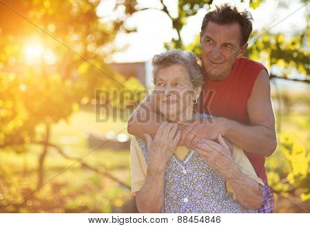 Senior woman with her elderly son