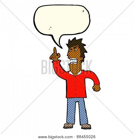 cartoon angry man making point with speech bubble