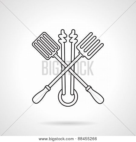 Black line vector icon for barbecue tools