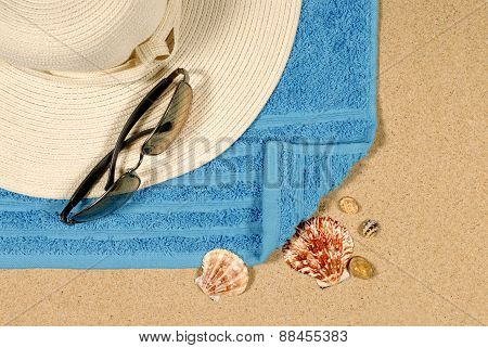 Seashore Background With Hat And Sunglasses