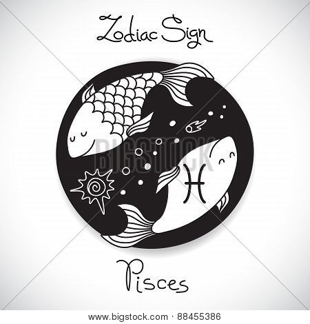 Pisces zodiac sign of horoscope circle emblem in cartoon style.