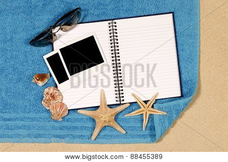 Beach Scene With Blank Book