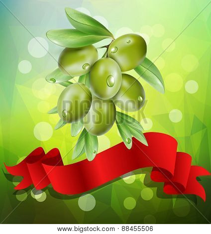 vector olive branch with red ribbon on a green background with bokeh