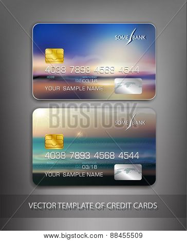 vector template credit cards with seascape