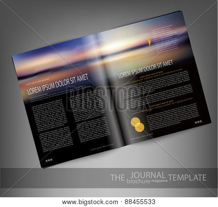 vector template print edition of the magazine with seascape