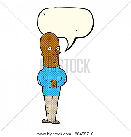 cartoon funny bald man with speech bubble