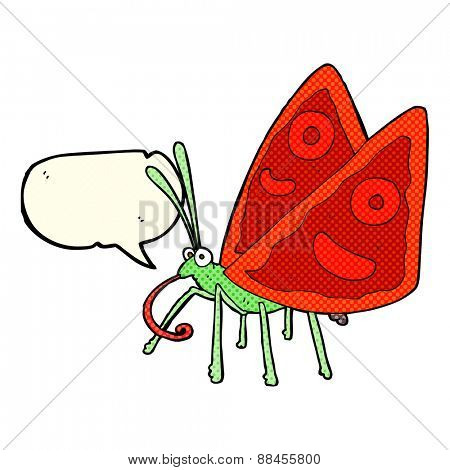 cartoon funny butterfly with speech bubble