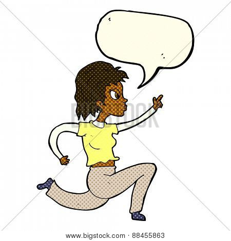 cartoon woman running and pointing with speech bubble