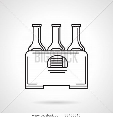 Case of beer black line vector icon