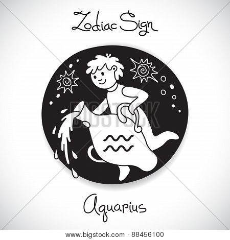 Aquarius zodiac sign of horoscope circle emblem in cartoon style.