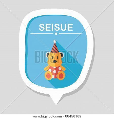 Birthday Teddy Bear Flat Icon With Long Shadow,eps10