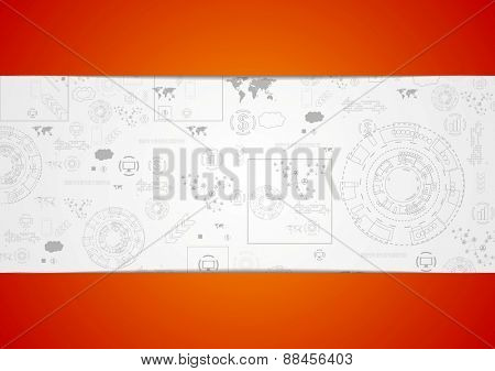Tech engineering drawing abstract background. Vector design