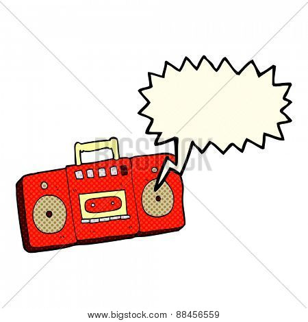 cartoon radio cassette player with speech bubble