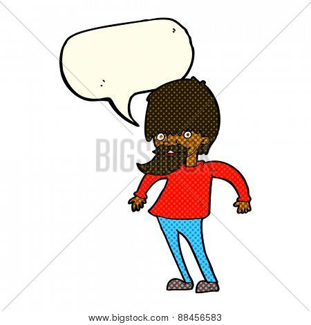 cartoon bearded man shrugging shoulders with speech bubble