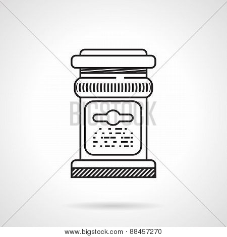 Glass jar black line vector icon